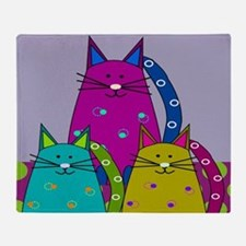 Whimsical Cats Throw Blanket