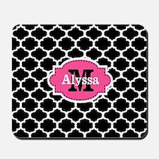 Black Pink Quatrefoil Personalized Mousepad