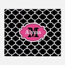 Black Pink Quatrefoil Personalized Throw Blanket