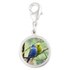 Budgie Love Silver Round Charm