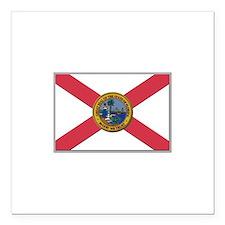 "Flag of Florida Square Car Magnet 3"" x 3"""