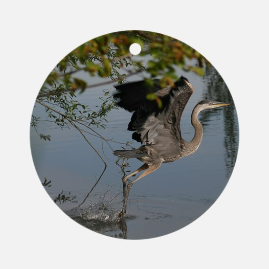 Great Blue Heron Takes Flight Ornament (Round)