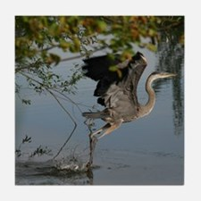 Great Blue Heron Takes Flight Tile Coaster