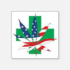 "American Medical Cannabis Square Sticker 3"" x 3"""