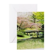 Cherry Blossom Bridge Greeting Cards