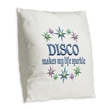Disco Sparkles Burlap Throw Pillow