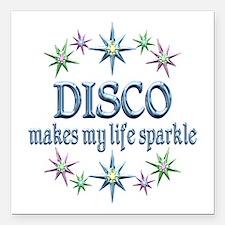 "Disco Sparkles Square Car Magnet 3"" x 3"""