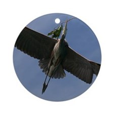 Great Blue Heron In Flight Ornament (Round)
