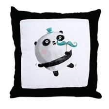 Cute Panda with Mustaches Throw Pillow