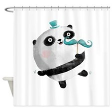 Cute Panda with Mustaches Shower Curtain