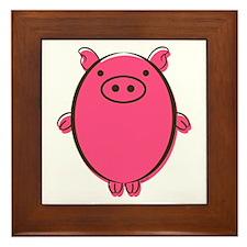 Funny Pot belly pig Framed Tile