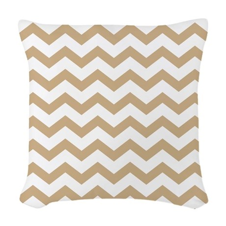 Light Brown Chevrons Woven Throw Pillow by chevroncitypart2
