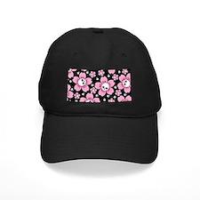 Skull Pink Blossoms Baseball Hat