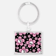 Skull Pink Blossoms Keychains