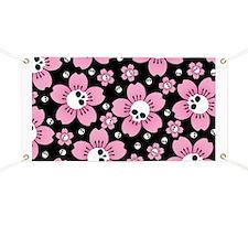 Skull Pink Blossoms Banner
