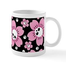 Skull Pink Blossoms Mugs