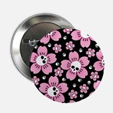 "Skull Pink Blossoms 2.25"" Button"