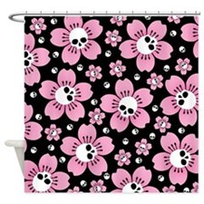 Skull Pink Blossoms Shower Curtain