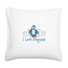 I Love Penguins Square Canvas Pillow