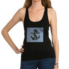 nautical deck vintage anchor Racerback Tank Top