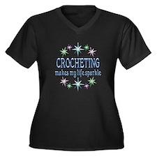 Crocheting S Women's Plus Size V-Neck Dark T-Shirt