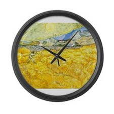 van gogh wheat Large Wall Clock