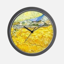 van gogh wheat Wall Clock