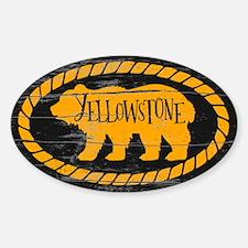 Yellowstone Rustic Bear Gold Sticker (oval)