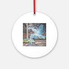 Blue Ember Fairy Fantasy Art Ornament (Round)