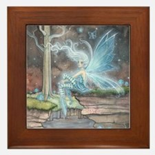Blue Ember Fairy Fantasy Art Framed Tile