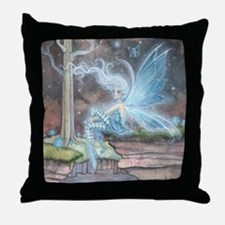 Blue Ember Fairy Fantasy Art Throw Pillow