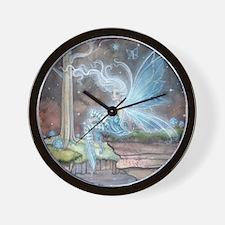 Blue Ember Fairy Fantasy Art Wall Clock