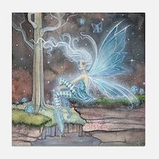 Blue Ember Fairy Fantasy Art Tile Coaster
