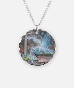 Blue Ember Fairy Fantasy Art Necklace