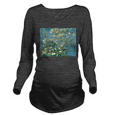 VanGogh Almond Blossoms Long Sleeve Maternity T-Sh