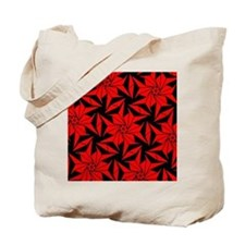 Red and Black Geometric Floral Tote Bag