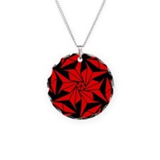 Red and Black Geometric Flor Necklace