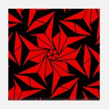 Red and Black Geometric Floral Tile Coaster