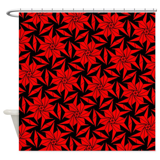 Red And Black Geometric Floral Shower Curtain By 64ColorLiving