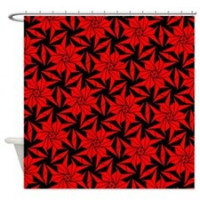 Red and Black Geometric Floral Shower Curtain