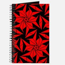 Red and Black Geometric Floral Journal