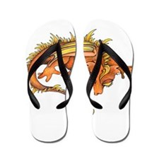 Orange Dragon Flip Flops
