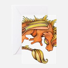 Orange Dragon Greeting Cards