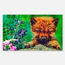 Wildflowers Wolf Pup Sticker (Rectangle)