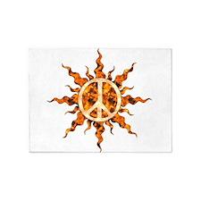 Flaming Peace Sun 5'x7'Area Rug