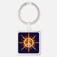 Flaming Peace Sun Keychains