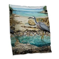 White Faced Heron Burlap Throw Pillow