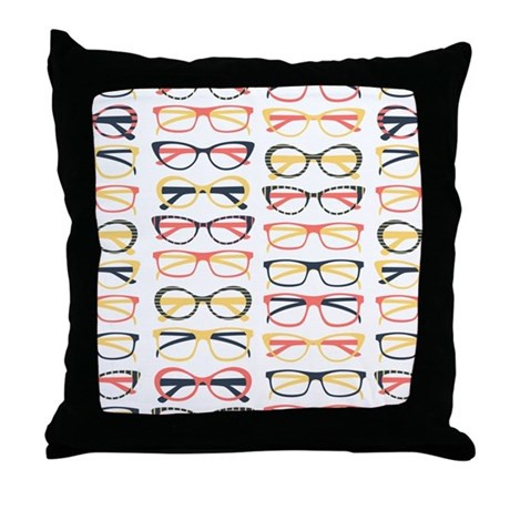 Hipster Glasses Throw Pillow by FuzzyChair