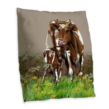 Cow And Calf Burlap Throw Pillow