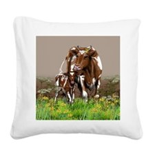 Cow And Calf Square Canvas Pillow
